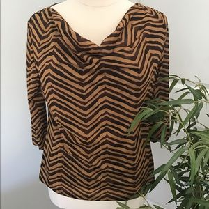 GEORGE brown and tan animal print scoopneck blouse